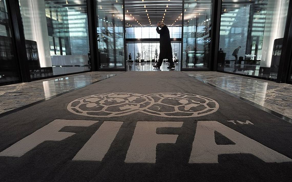 The logo of the FIFA is pictured on a ca